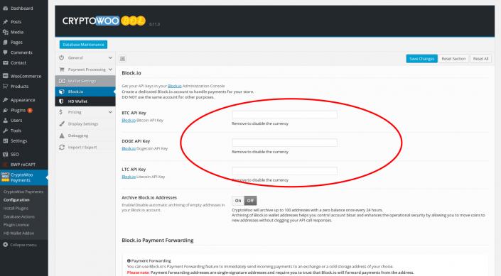 Enter Block.io API keys