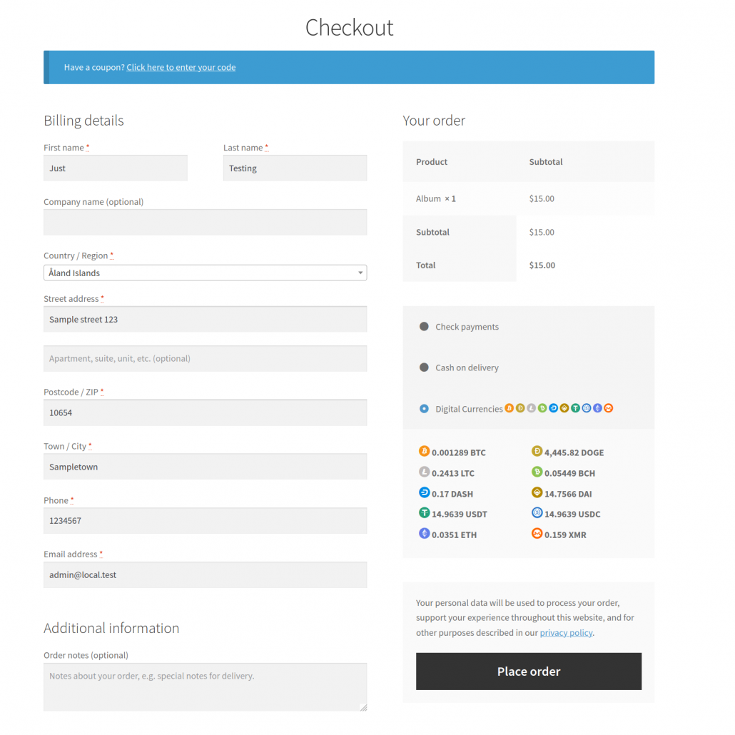Checkout Page Full Width Example